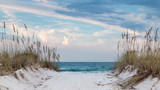 White sandy beach path to the ocean.