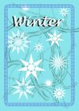 Fondo de invierno en colores azules y blancos, con estrellas diferentes. Winter