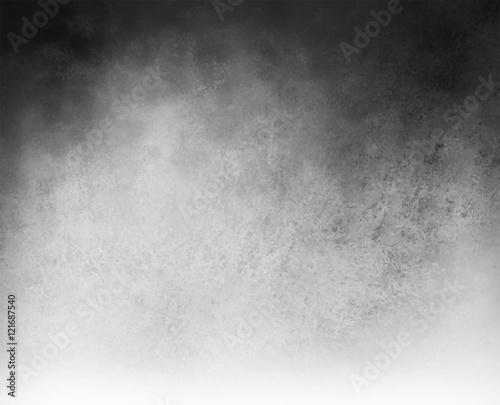 czarno-białe tło z chmurą centrum biały i gradientu grunge czarny tekstury na granicy górnej, srebrny szary tło z czarnymi rogami