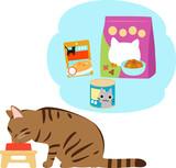 いろいろなキャットフードと食事中の猫