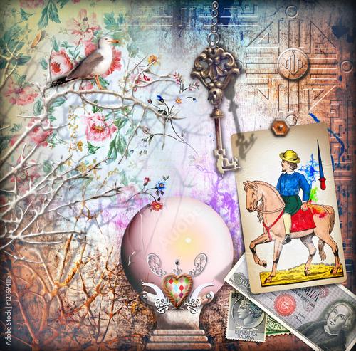 Foto op Plexiglas Imagination Magica palla di cristallo per cartomante da fiera con tarocchi e