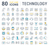 Fototapety Set Vector Flat Line Icons Technology