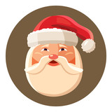 Santa claus face icon in cartoon style isolated on white background vector illustration
