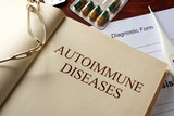 Book with diagnosis autoimmune diseases. Medic concept.