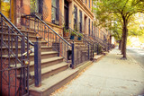 traditional brownstone lined home at harlem, new york - 121713345