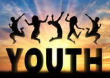 Fototapety Silhouette people jumping over the word youth