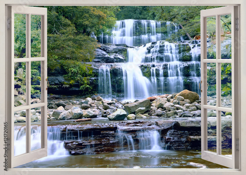 Open window view to waterfall