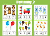 Counting educational children game, kids activity worksheet. How many objects task