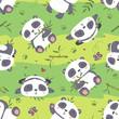 vector cartoon panda seamless pattern - 121730374