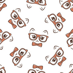 vector hipster cat seamless pattern