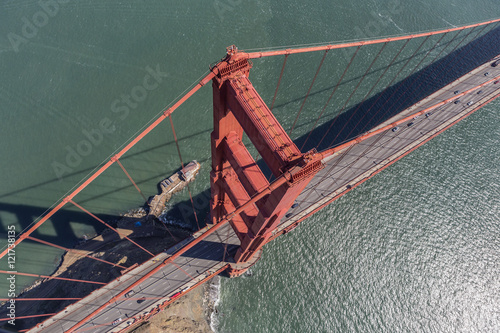 Fotobehang San Francisco Aerial View of the Golden Gate Bridge Suspension Tower and Cable