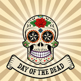 day of the dead. dia de los muertos.  Sugar skull on vintage bac