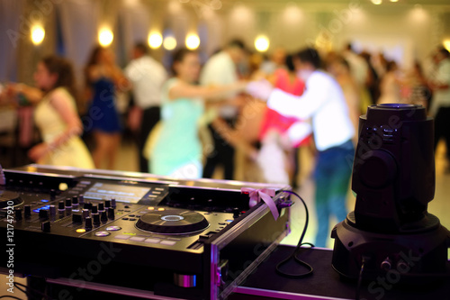 Dancing couples during party or wedding celebration - 121747920