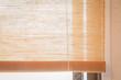 Brown fabric window blind in living room