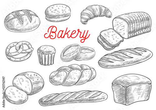 Bread and bakery products vector sketch