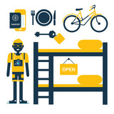 set of vector flat icons for hostel service with tourist - 121765315