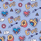 color cartoon love vector seamless pattern - 121765331