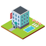 Flat vector 3d isometric hotel building with swimming pool - 121765345