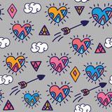 funny doodle vector seamless pattern with hearts and arrows - 121765353