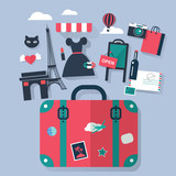Suitcase in Paris tourism concept image.Vacation flat vector ico - 121765363