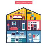 vector house interior illustration - 121765375