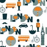 white cartoon british seamless pattern - 121765392