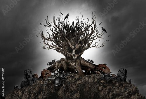 Halloween Creepy Tree Background
