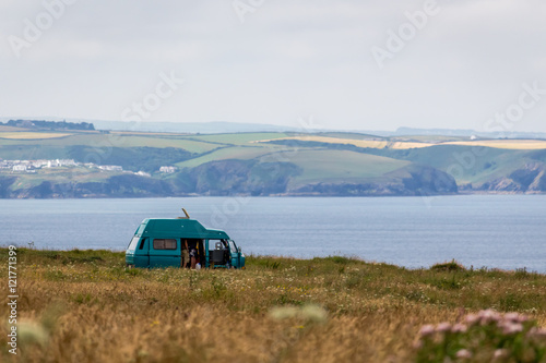 Poster Campervan on Cornwall cliff top