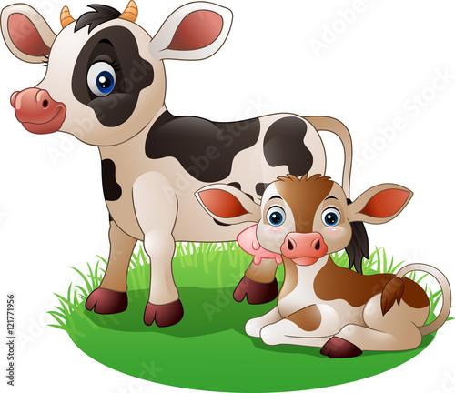 Fotobehang Boerderij Cartoon cow with newborn calf