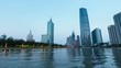 time lapse of beautiful tianjin in nightfall,haihe river with central business district, China