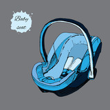 illustration of hand drawn baby seat for infant in a car. Elemen