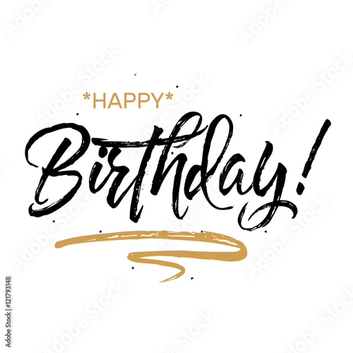 Happy Birthday. Beautiful greeting card poster with calligraphy black text Word gold ribbon. Hand drawn design elements. Handwritten modern brush lettering on a white background isolated vector