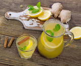 Natural lemonade with fresh lemon and spices