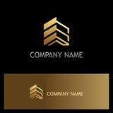 golden building construction business logo