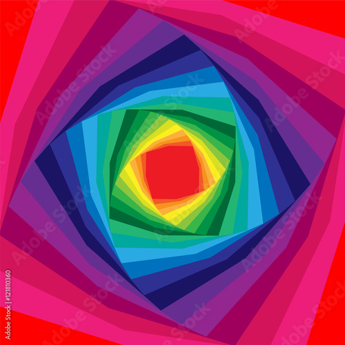 Vector Illustration.Colorful Helix  Expanding from the Center. Iridescent Background. Optical Illusion of Depth and Volume. Suitable for Web Design. © nofretka