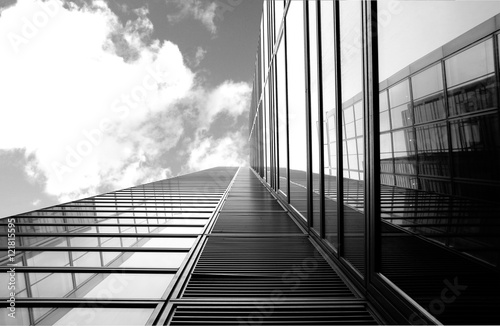 Architectural details of glass and steel building structures - 121815595
