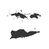 Virgin Islands of the United States map silhouette illustration - 121817758