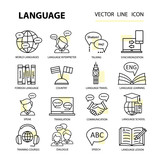 Fototapety Set modern linear icons on the topic of learning a foreign language.