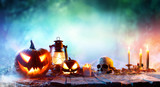 """Halloween - Lanterns And Pumpkins On Wooden Table In A Haunted Forest 121826867,white paper sheet on yellow wall"""""""