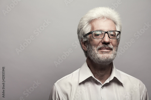 Eyewear concept. Portrait of 60-year-old man  Poster