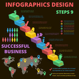 Vector Templates .  Background for Business.  Posters and Placards. Mobile Technologies Concept. Flat Style Web and Infographic. three-dimensional elements