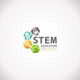 Fototapety STEM Education Concept Logo. Science Technology Engineering Mathematics.