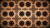 Fondo Mosaico fractal geometrico con palpitacion de luces intermitentes de colores rojo y naranja