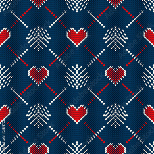 Cotton fabric Fair Isle Style Knitted Sweater Design with Hearts. Seamless Knitting Pattern. Vector Knitted Texture