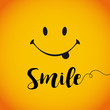 Smile world day banner. Smile with tongue and lettering on yellow background