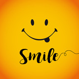 Smile world day banner. Smile with tongue and lettering on yellow background - 121858532