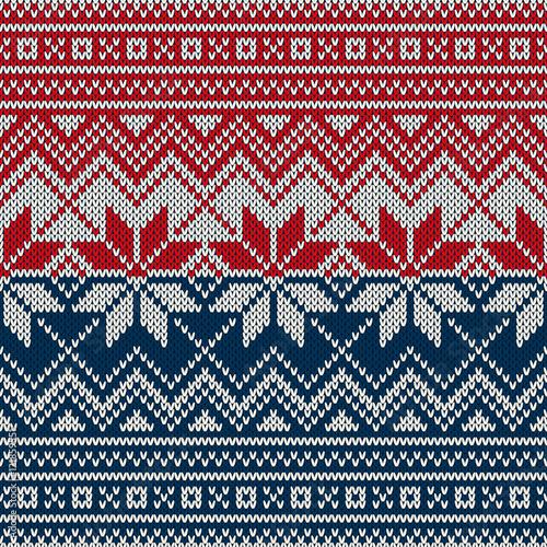 Cotton fabric Christmas Sweater Design. Seamless Knitting Pattern