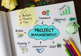 Notebook with Toolls and Notes about Project Management,concept - Fine Art prints