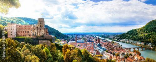 Fotobehang Freesurf Panoramic view of beautiful medieval town Heidelberg, Germany