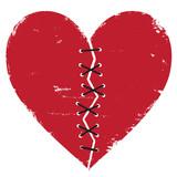 Broken heart with thread stitches vector illustration. - 121877536